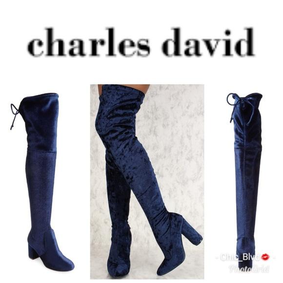 852be291244 Charles David Shoes - 🆕 Charles David Over The Knee Blue Velvet Boot